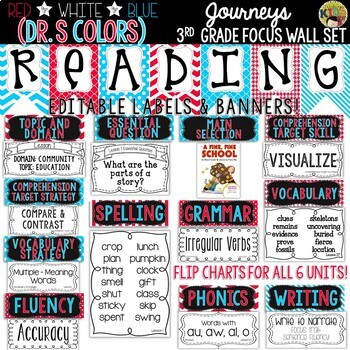{Dr. Seuss Colors- Red, White, Blue} Journeys 3rd Grade Reading Focus Wall Set
