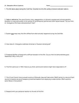 """Dr. Strangelove"" Movie Questions"