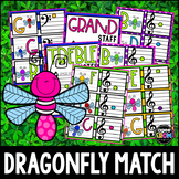 """""""Dragonfly"""" Music Notes Matching Flashcard Fun!  Treble and Bass Clefs"""
