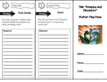 """""""Dragons and Dinosaurs"""" Comprehension Trifold (Storytown L"""