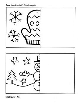 """Draw Half"" Winter Coloring Sheet {MrsBrown.Art}"