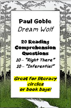 """""""Dream Wolf"""" by Paul Goble - reading comprehension questions"""