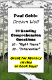 """Dream Wolf"" by Paul Goble - reading comprehension questions"