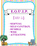 """{E.Q.U.I.P} Mini Set """"A"""" - Character Cards, Copywork, and Coloring Pages ONLY"""