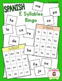 Bingo Game: Reading E Syllables (Spanish)