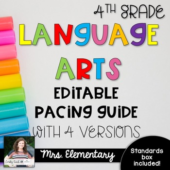 *EDITABLE* 4th Grade Language Arts Pacing Guide