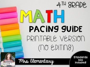 *EDITABLE* 4th Grade Math Pacing Guide
