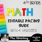 *EDITABLE* 4th Grade Math Pacing Guide