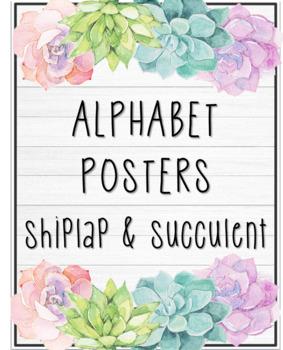* EDITABLE * Alphabet Posters - Shiplap & Succulent