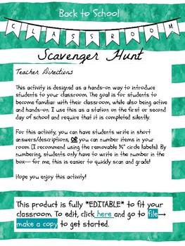 *EDITABLE* Back to School Classroom Scavenger Hunt