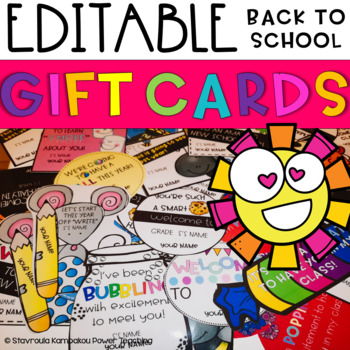 *EDITABLE* Back to School-Meet the Teacher  Student Gift Cards (Open House)