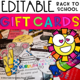 Meet the Teacher  Student Gift Cards  Back to School  (Open House) EDITABLE