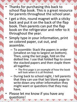 ~ EDITABLE ~ Back to School flap (flip) book
