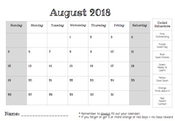 *EDITABLE* Behavior Calendar