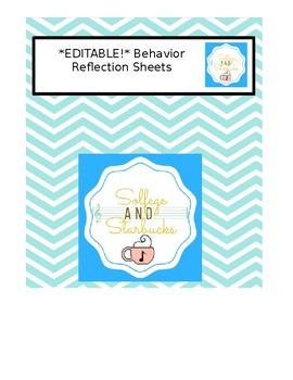 *EDITABLE* Behavior Reflection Sheets