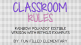 *EDITABLE* Bitmoji Classroom Rules: Polka Dot Theme