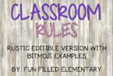 *EDITABLE* Bitmoji Classroom Rules: Rustic Theme
