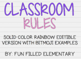 *EDITABLE* Bitmoji Classroom Rules: Solid Rainbow Theme