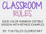 *EDITABLE* Bitmoji Classroom Rules: Solid Rainbow Theme