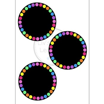 **EDITABLE** Black Rainbow Dot Label Set