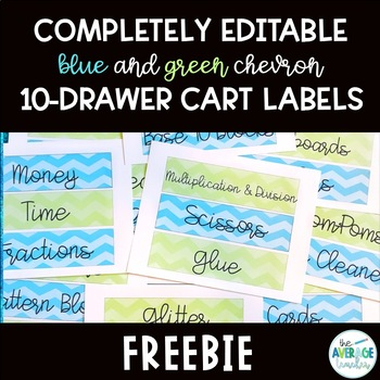 *EDITABLE* Blue and Green Chevron 10-Drawer Cart Labels