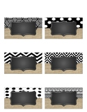 *EDITABLE* Burlap, Chalkboard, Black and White Labels BUNDLE