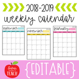 {EDITABLE} Calendar 2018-2019
