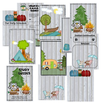 EDITABLE Camping Themed Organizational Binder for Students