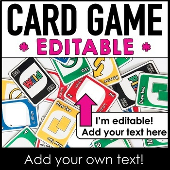 * EDITABLE * UNO Card Game - Use your own questions or vocabulary!