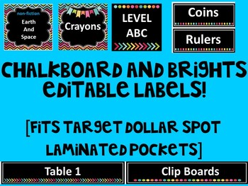 {EDITABLE} Chalkboard and Brights Labels - Fits ALL TARGET Lamniated Pockets