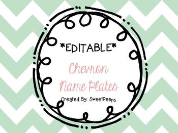 **EDITABLE** Chevron Name Plates