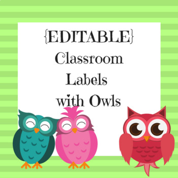 {EDITABLE} Classroom Labels -- Lime Green Stripes with Owls