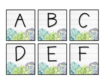 * EDITABLE * Classroom Library Labels - Shiplap & Succulent