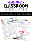 {EDITABLE} Classroom Newsletter Template - Color and B&W Versions!