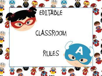 *EDITABLE* Classroom Rules - superhero theme