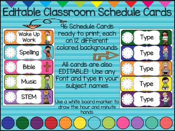 (EDITABLE) Classroom Schedule Cards