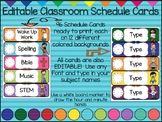 (EDITABLE) Classroom Schedule Cards