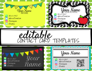 Editable Teacher Contact Cards Templates By Let Them Stem