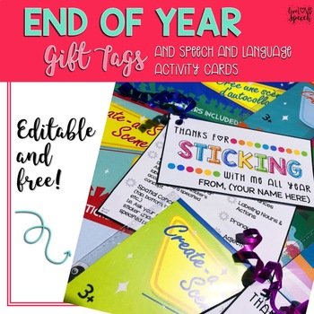 {EDITABLE & FREE} End of Year Gift Tags & Cards {Dollar Tree Sticker Scenes}