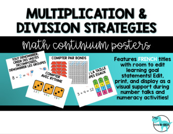 *EDITABLE* FRENCH MULTIPLICATION & DIVISION STRATEGIES Math Continuum Posters