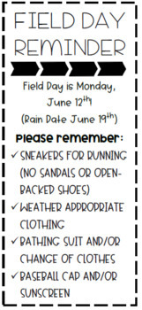 *EDITABLE* Field Day Parent Reminders