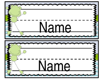 {{EDITABLE}} Frog Labels ((Blue and Green))