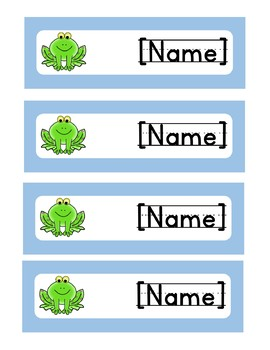 *EDITABLE* Frog Name Tags