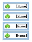 *EDITABLE* Frog Name Tags