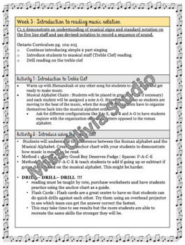 Grade 4 *MUSIC* Lesson Plans First 12 Weeks
