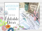 *EDITABLE* Grey/White/Mint Watercolor Flower Garden Theme Classroom Decor Bundle