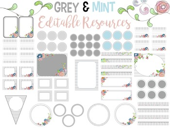 *EDITABLE* Grey/White/Mint Watercolor Flower Garden Theme Classroom Decor Bundle