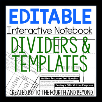 EDITABLE Interactive Notebook Templates and Dividers
