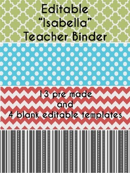 ~ EDITABLE ~ Isabella Teacher Binder