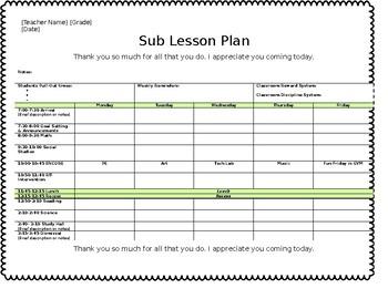 [EDITABLE]  Lesson & Sub. Plan Template